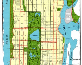 Mid Manhattan Map Vintage 1960s Art Illustration New York City Central Park NYC - Digital Image Scanned Copy