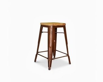 """Custom Reclaimed Wood Seat Tolix Style Stool in 24"""" or 30"""" Bar Height"""
