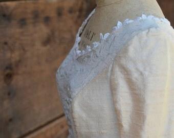 Watteau Back Half Size Handmade Wedding Dress in Pure Silk