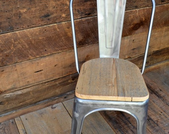 Custom Reclaimed Wood Seat Tolix Style Side Chairs