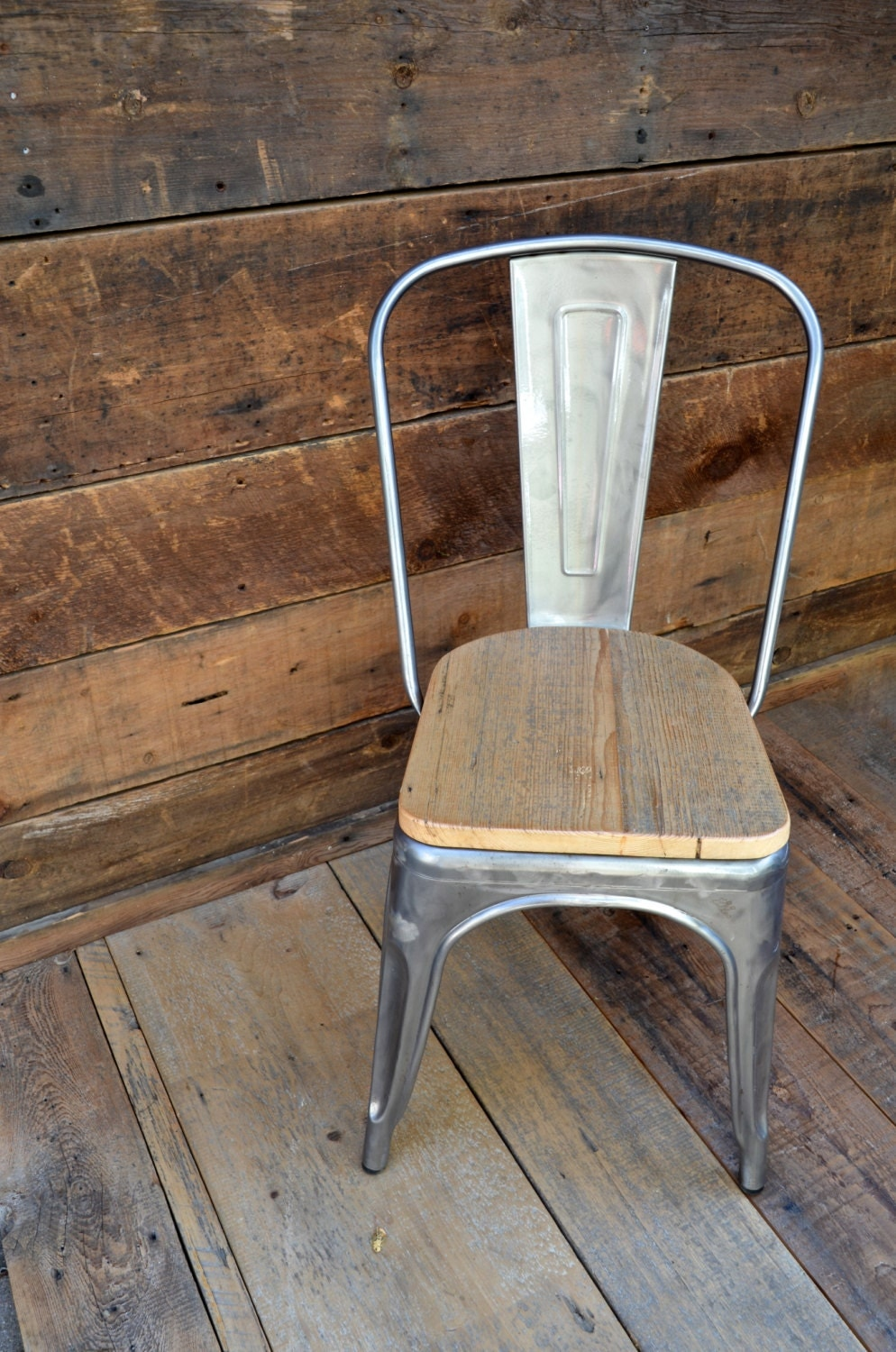 custom reclaimed wood seat tolix style side chairs. Black Bedroom Furniture Sets. Home Design Ideas
