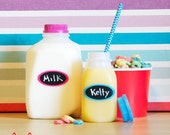 Color Pop Chalkboard Labels - 12 Small Oval Chalkboard Labels, Removable and Repositionable