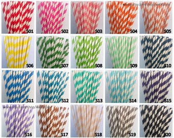 25 PAPER STRAW, Pick Your Color Straws (76 Designs for choosing) with free printable DIY Toppers, paper straw drinking straw