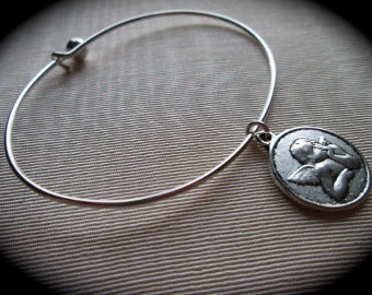 "Guardian Angel silver bangle bracelet with Raphaels Angel Charm  7 1/2""  Wire Bangle Bracelet Protection bracelet Gift for Her"