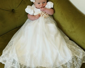 lace blessing dress - blessing dress - white dress - baptism dress - christening dress - baby dress 0-18 mo.