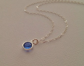 Sapphire Necklace in Sterling Silver -Silver Sapphire Necklace  -September Bithstone Necklace -Swarovski Blue Crystal Necklace