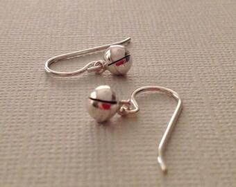 Tiny Bell Earrings in Sterling Silver -Jingle Bell Earrings -Meditation earrings
