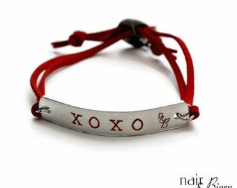 Xoxo Bracelet -  Red, hand stamped, ID bracelet, Swarovski cyrstal heart, animal lover, dog, cat, silver, faux suede