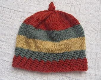Striped knit wool hat