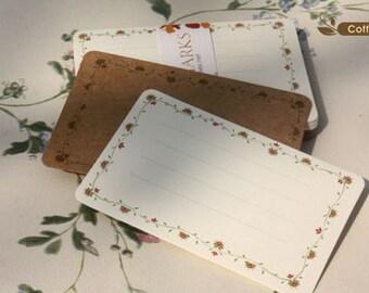 Label Card - Kraft Papaer Card & White Cardboard - Floral Border - 24 sheets