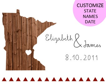 Minnesota Map / Map custom States/ Names/ Date that you want. size A4 (11,8x8,3 inches)