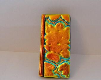 Dichroic Fused Glass Money Clip Men Women Accessories Jewelry Copper Gold Glass Art Money Holder