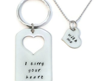 "SALE: ""I carry your heart"", ""with me"" his & hers dog tag and key chain and necklace  SET of Two by Moonstone Creations"
