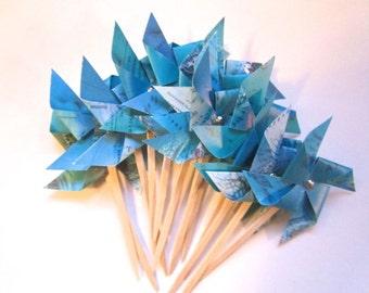 Pinwheels, cupcake topper, pinwheel cupcake, map pinwheels, ocean theme, small pinwheels, map place card, shabby chic, travel theme