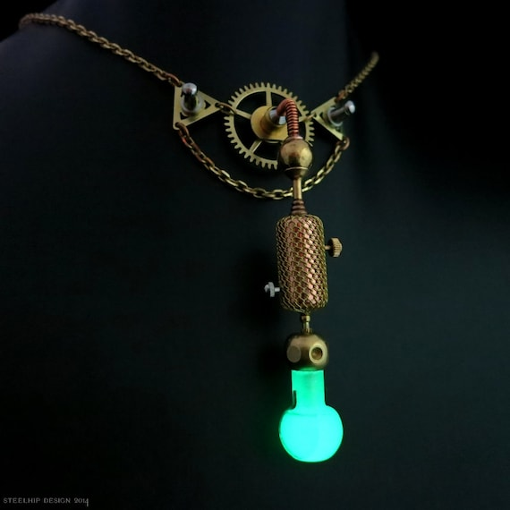 Glow in the dark Steampunk necklace - Steelhip Design