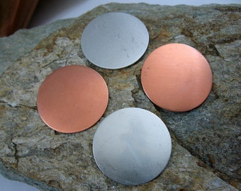 1 1/4 Inch Round Stamping Blanks, Metal Discs, Copper or Aluminum, You get 2, Ready to Ship!