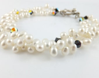 Freshwater pearl bracelet, double strand, white, black Swarovski crystal, aurora borealis, sterling silver: Simply Adorned