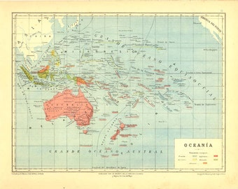 Oceania 1929 Vintage Map Retro Home Decor Wall Hanging
