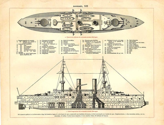 Battleship technical drawing vintage print 1900s german ship for Print architectural plans