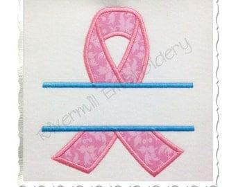 Split Awareness Ribbon Applique Machine Embroidery Design - 5 Sizes