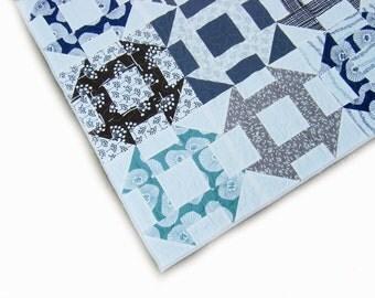 Baby quilt, boy quilt, crib quilt, playmet, modern baby quilt, toddler blanket, grey, blue, brown