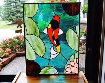 Colorful Koi Stained Glass Panel