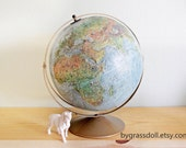 "Vintage Replogle 12"" Land and Sea  Series Globe Antique Gold Color Metal Stand / Made in USA / 13717 - bygrassdoll"