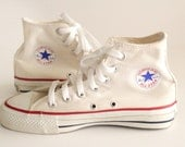 Vintage Made in USA Converse All Star Chuck Taylor 4 Hi Top Ivory  w/ Box, Men 4 Women 6 / item no. 140111