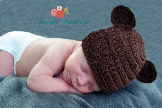 Newborn Baby Boy Crochet Hat, Chocolate Brown Baby Boy Hat, Newborn Boy Hat, Little Boy Hat, Baby Boy Hat, Baby Bear Hat, Chocolate Bear Hat