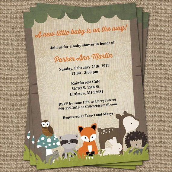 woodland baby shower invitations with forrest animals wood grain
