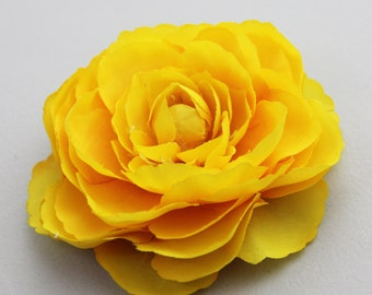 Yellow Ranunculus Flower Hair Clip and Pin - Clip in Hair or Pin to Jacket or Hat