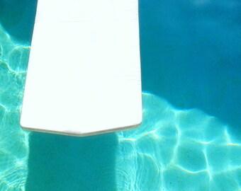 Pool Float Swim Photo | Turquoise Swimming Pool Decor | Blue Water, White Raft | Mid Century Modern Art Minimal Pool Print | Retro Wall Art