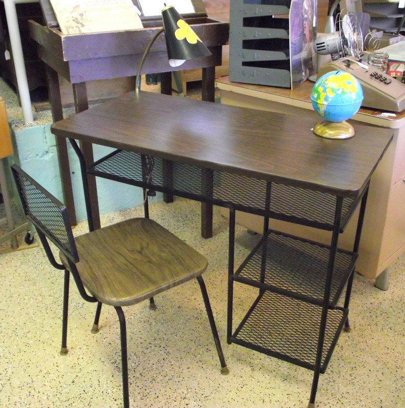 Mid Century Modern DESK With Chair Black Metal Wire By LOROMAN