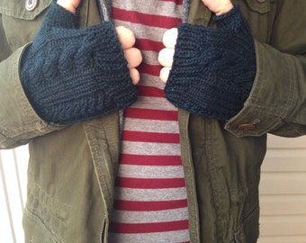 Man's Knit Gloves, Men's Gifts, Cable Knit Wool Gloves, Midnight Heather, Men's Fingerless Gloves || DOUBLE CABLE GLOVES