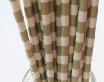 25 Paper GOLD and White Ringed Straws - Free Printable Straw Flags