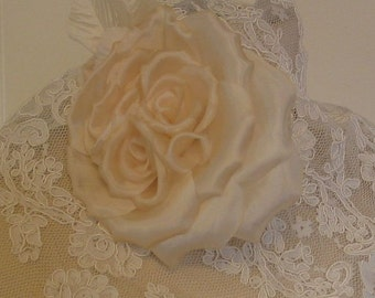 Silk Ivory Curly Rose Wedding Bouquet Millinery