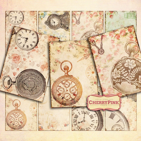 ANTIQUE CLOCK Digital Collage Sheet vintage by ...
