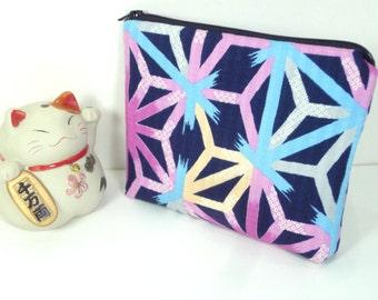 Travel Pouch Gift Idea Under 15 Make up Bag Kimono Cotton Fabric Hexagon Navy