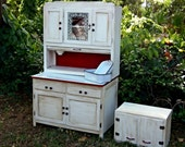 SALE Vintage Hoosier Cabinet and Matching Hanging Cabinet Totally Restored Country Decor French Country Rustic Primitive Decor