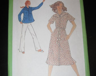 Simplicity 8932 Misses' dress and top size 12 bust 34 inches sewing pattern 1979 uncut