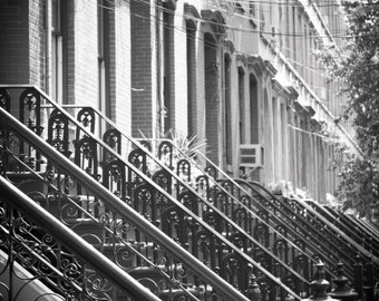 Black and White Architecture Brownstone Row House Photography Art Print Industrial Rustic Vintage Home Decor Jersey City