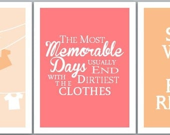 Laundry Room Decor Set of THREE Prints // Wall Quote Series