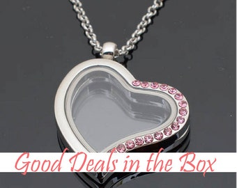 Valentine's Day GIFT - A set of magnetic floating locket  30mm heart sharp necklace with 12 pieces of birthstone
