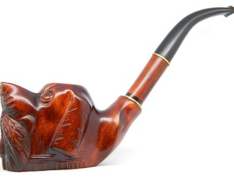Tobacco Smoking pipe - Hunting Dog - Carved of Pear Wood, Self-Standing (9mm filter) + Pouch