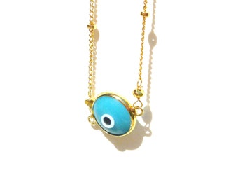 Evil Eye Necklace Gold - Evil Eye Necklace, Elegant Evil Eye, Celebrity Evil Eye, Bridesmaid Jewelry, Holiday Gift