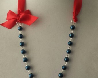 Navy Pearl and Red Ribbon Bow Necklace