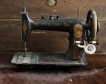 Small Antique Sewing Machine // Decorative Gold New Victory