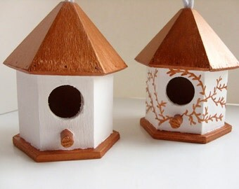 Copper & white birdhouse, rustic birdhouse, rustic wedding decor, rustic decor, rustic wedding favor, birdhouse Christmas ornament
