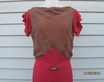 1930's Crepe Dress with Metallic Knit Mesh Bodice