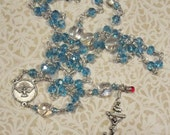 "Blue Rosary Holy Spirit Center Wire wrapped by Hand ""Drop of His Blood"""